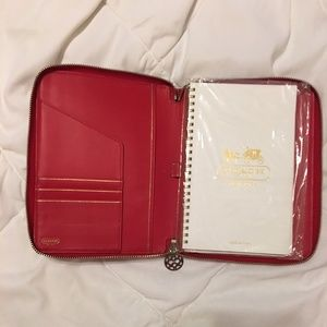 Authentic Coach Agenda in Red Shiny Leather